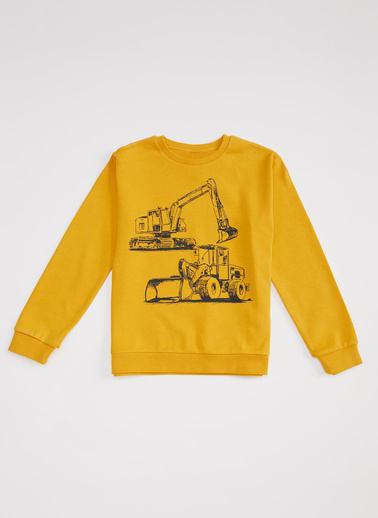 DeFacto Erkek Çocuk  İş Makinesi Baskılı Sweatshirt Sarı